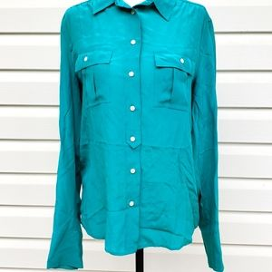 J Crew Blythe Turquoise Teal Silk Blouse Size 4 LS  Button Down